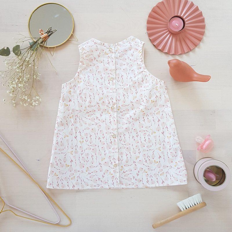 vetement bebe enfant robe rose blanc fleur mode lyon createur volant fabrication francaise made in france bebe fille naissance cadeau anniversaire