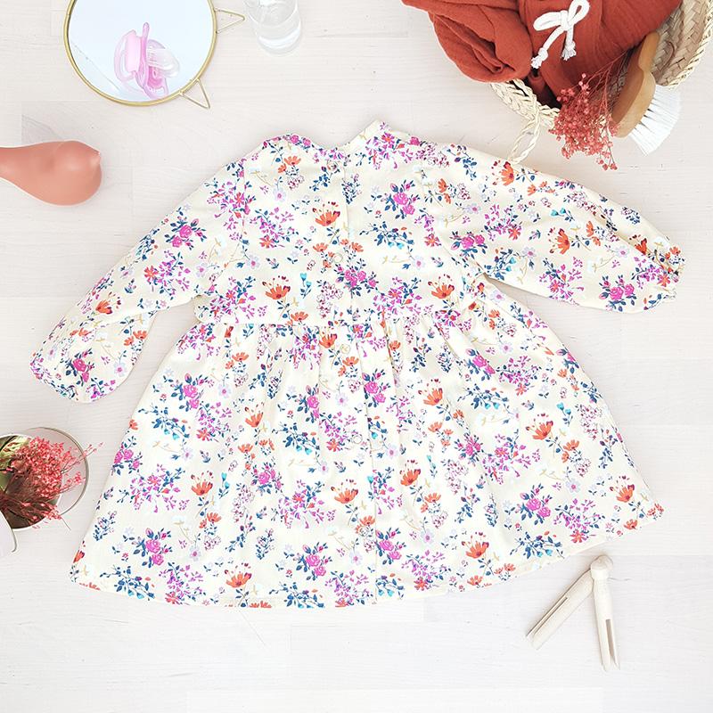 robe bebe fille fillettte fleur liberty manche manches longues oekotex createur lyon vetement enfant bilboquet kids jaune violet rouge cadeau naissance